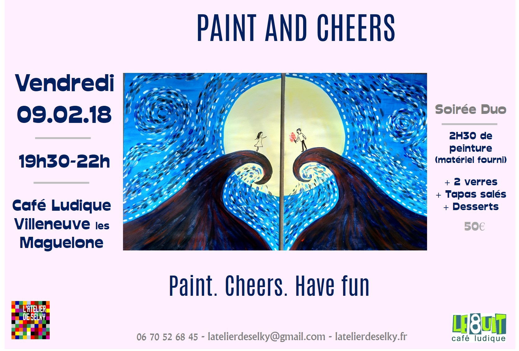 soirée paint and cheers duo